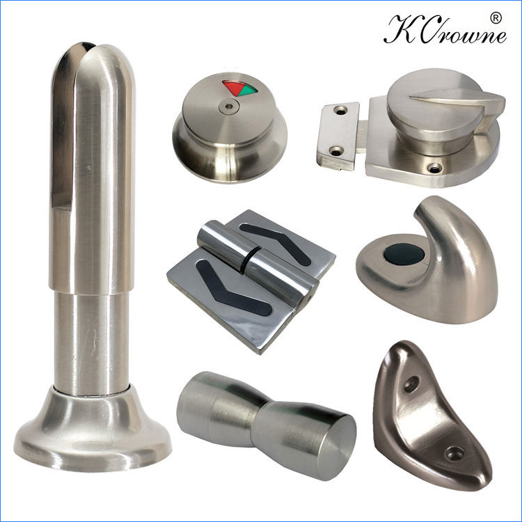 Public Toilet Cubicle Partition Easy To Clean Zinc Alloy Hardware Accessories Fittings Set
