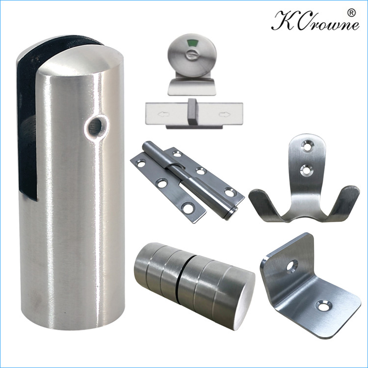 Professional Compact Laminate 304 Stainless Steel Toilet Cubicle Partition Hardware Fitting Accessories Set